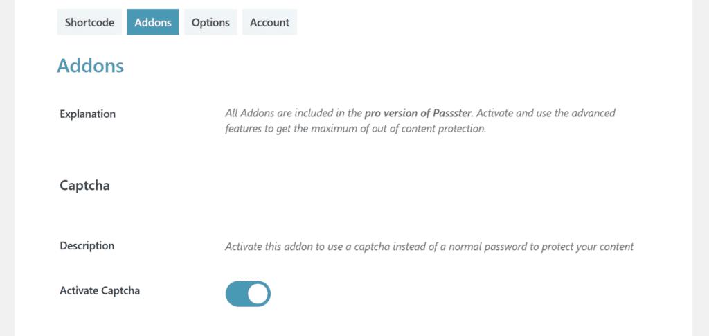 Activate CAPTCHA option