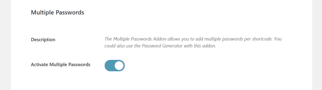 Multiple passwords option