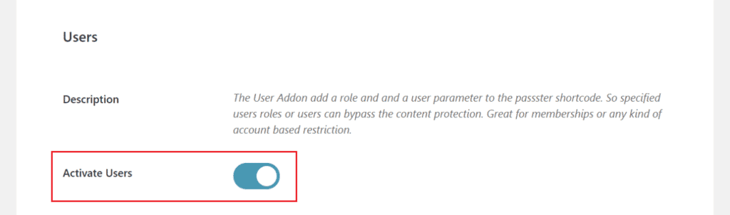 Activate users option