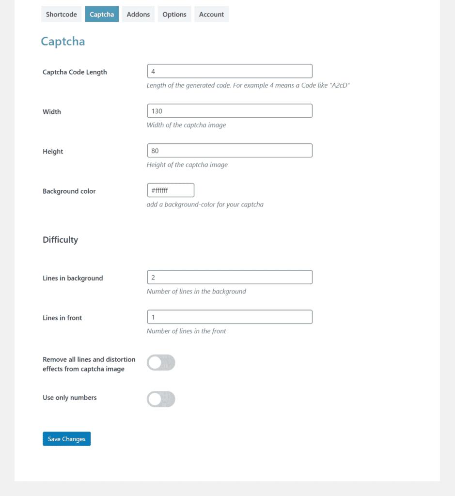 CAPTCHA settings screen in Passster plugin