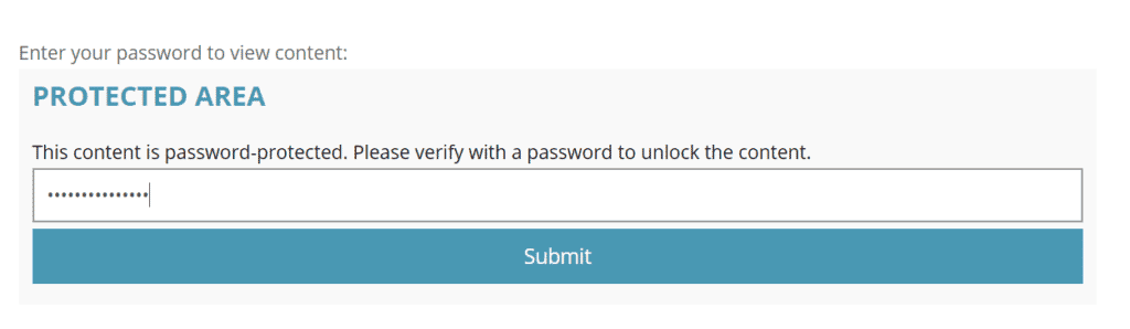 Preview of multiple password content protection on the front-end