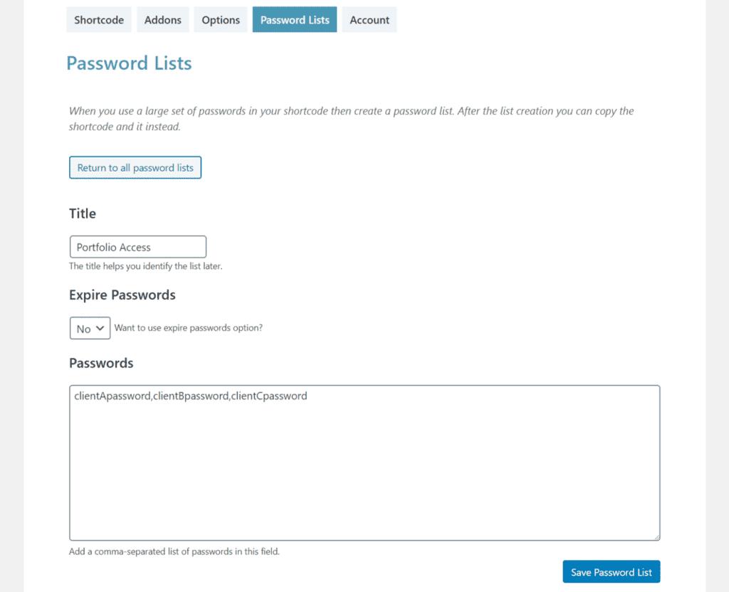 Password list settings in Passster
