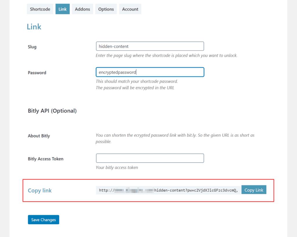 Unlock via link settings in Passster