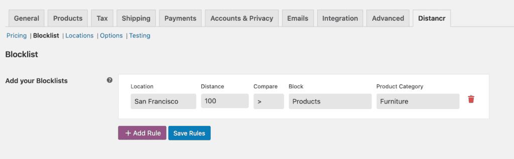 Distancr Blocklist tab