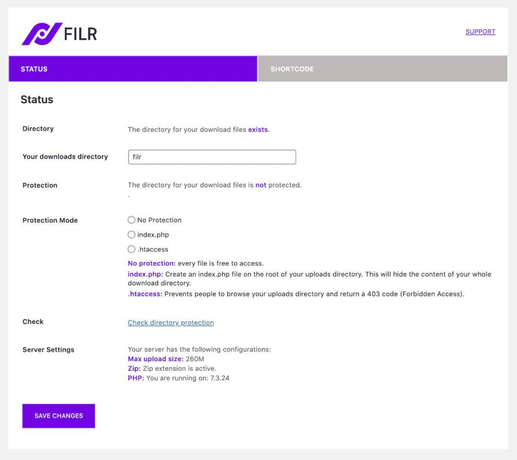 Filr protection settings