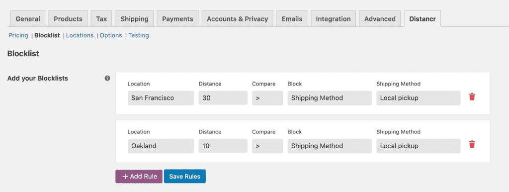 Shipping method blocklist