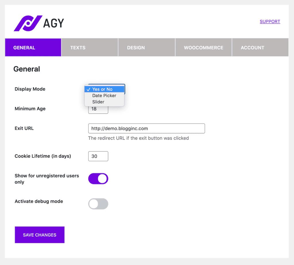 Agy display modes